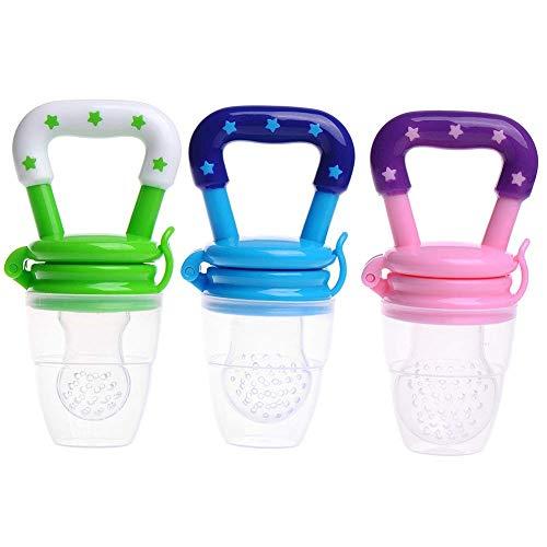 3 STÜCKE Fruchtsauger Baby, Silikon Schätzchen Schnuller Sauger Frisches Lebensmittel Obst Schnuller Feeder Fütterung Werkzeug Beißring Grün + Rosa + Blau (M)