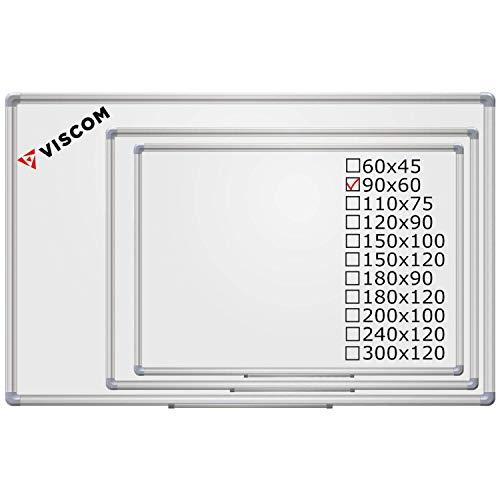 VISCOM Magnetisches Whiteboard - 90 x 60 cm - Magnettafel - Magnetwand, Kratzfest, Beschreibbar, mit Aluminium-Rahmen, Weitere Größen Wählbar