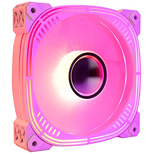 Akin Ventilador para PC 120 mm ARGB, ventilador refrigeración 5 V 3 pines con cojín hidráulico 1600 RPM ventiladores de control temperatura inteligentes PWM para CPU Cooler Computer Case, 32 dB