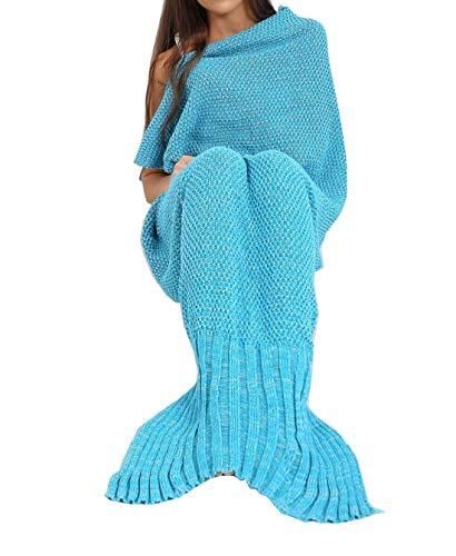 21Fashion Couverture de canapé en tricot pour femme en forme de queue de sirène - Taille unique - Turquoise