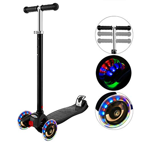 Hikole Scooter for Kids with 3 LED Wheels – Adjustable Height, Lean to Steer Design, 3 Wheels Kick Scooter for Girls & Boys 2-12 Years Old