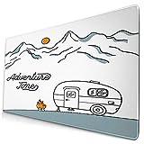 HASENCIV Alfombrilla de Ratón,Ilustración con una Caravana Retro en el Fondo de Las montañas,Mouse Pad - Precisión y Velocidad - Parte Inferior de Goma para una sujeción Estable,75 x 40cm