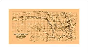 Union Pacific Railroad, Nebraska Territory 1865-20x12 Art Print by Museum Prints - Dey Vintage Map