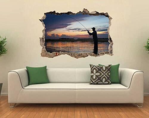 Pesca en la puesta del sol, calcomanía de pared rota, adhesivo gráfico, decoración del hogar, mural artístico, J70-3D arte mural calcomanía - 60x90cm