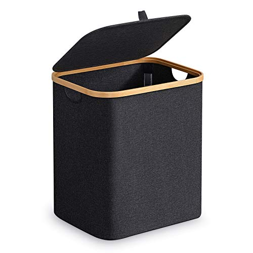 BRIAN & DANY Laundry Hamper with Lid, Bamboo Dirty Clothes Basket with Handle, Waterproof Collapsible Laundry Hamper Storage for Bedroom, Black/Grey