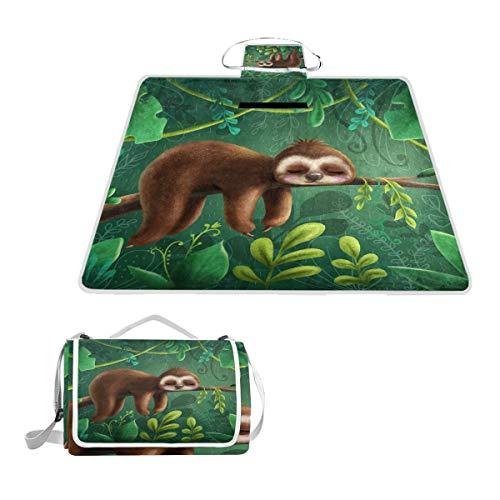 LZXO Jumbo-Picknickdecke, faltbar, Tier-Faultier Schlafen Blätter, groß, 145 x 150 cm, wasserdicht, handliche Matte, für Outdoor-Reisen, Camping, Wandern.