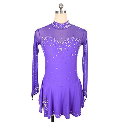 HYQW Vestido De Patinaje Artístico Falda Competencia Ropa para Adultos para Niños Personalizada Falda De Nylon De Manga Larga Vestido Patinaje Falda Rendimiento Diamantes Imitación,Purple-XXL
