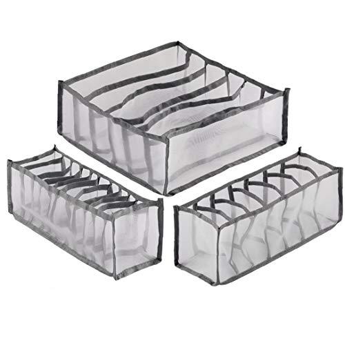TOPofly 11 cuadrículas multifunción Calcetines los titulares de la Ropa Interior de Las Cajas de almacenaje divisores del cajón del Organizador del Armario Ahorro Bolsa Gris 3 PCS