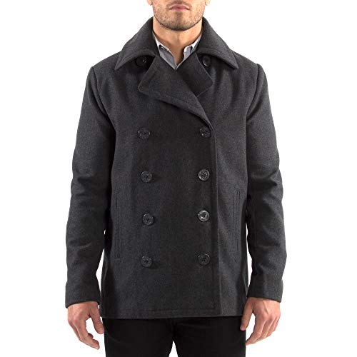 Alpine Swiss Mason Mens Wool Blend Classic Pea Coat Gray 2XL