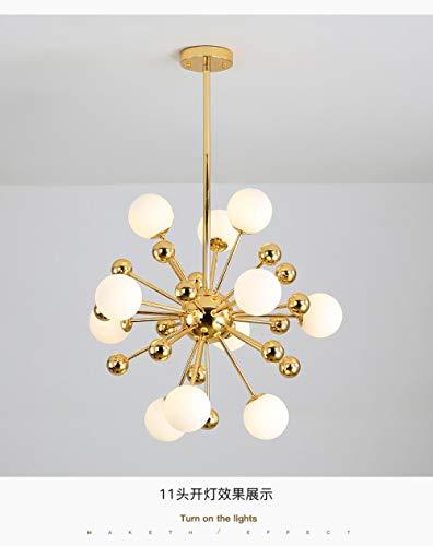 WOshiDD Kronleuchter,Löwenzahn Golden Glas Einfache Idee Kronleuchter Lampe Für Wohnzimmer Esszimmer Küche Schlafzimmer Flur Foyer Beleuchtung, 11 Leuchtet (60 * 60 cm)