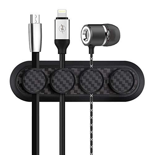 Lanly – Soporte magnético para cables con clips autoadhesivos, organizador de cables, juego flexible de pared de cables para escritorio, cable de alimentación para coche, USB cable, cargadores
