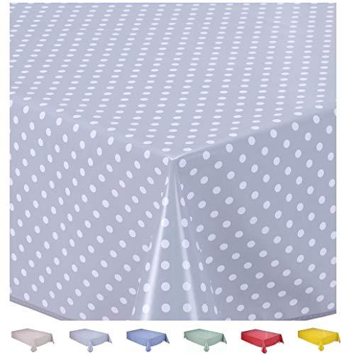 Home Direct Nappe Toile cirée PVC Rectangulaire 140 x 200 cmPetit Pois Gris Clair