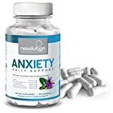 Resolution12 Anxiety Daily Support - Herbal Supplements with Ashwagandha, Passionflower, GABA, L-Tryptophan, L-Theanine, Vitamin B Complex - Helps Balance Mood, Promotes Sharper Memory - 90 Capsules