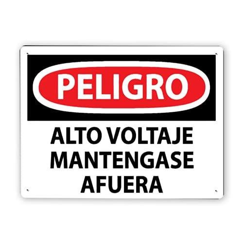 Carteles metálicos,PELIGRO Alto Voltaje Mantengase Afuera,8x12 In,Señal de aviso Señal de advertencia y decoración de logo