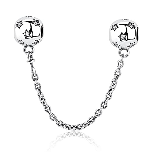 XIAOLW Berloques de prata esterlina 925 servem para pulseira de 3 mm, flor de balão para esposa, filha, mãe, presente de aniversário de Natal (corrente de segurança com flor)