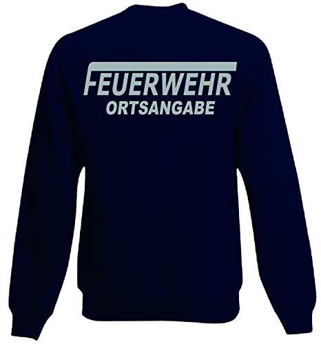 Feuerwehr Sweat-Shirt Navy mit Aufdruck in Neongelb oder reflexsilber (L, reflexsilber)