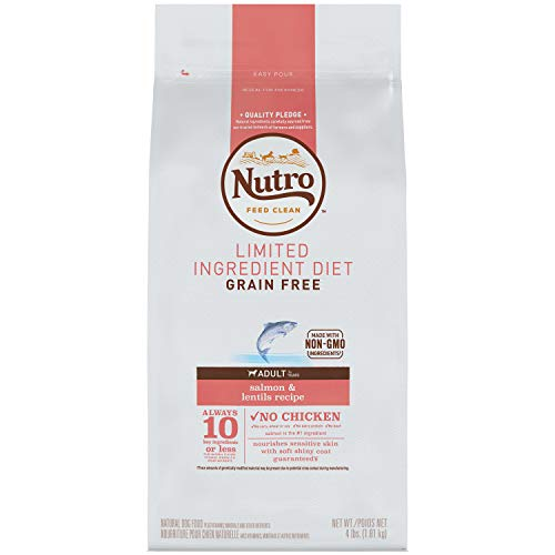 NUTRO Limited Ingredient Diet Adult Dry Dog Food Salmon & Lentils Dog Kibble, 4 lb. Bag