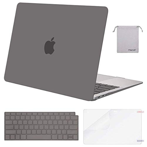 MOSISO Compatible with MacBook Air 13 inch Case 2020 2019 2018 Release A2337 M1 A2179 A1932 Retina Display Touch ID, Plastic Hard Shell&Keyboard Cover&Screen Protector&Storage Bag, Gray