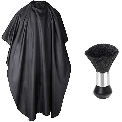 TRIXES Mantella parrucchiere e pennello collo portatile - Mantella unisex tutta lunghezza pennello ergonomico - Per saloni e uso domestico – Nero