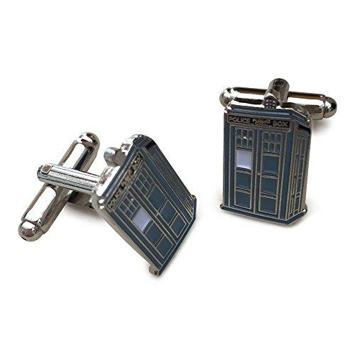 Orion Creations Dr Who Tardis. Blau und Metall silbrig Tardis Manschettenknšpfe. Geschenkbox
