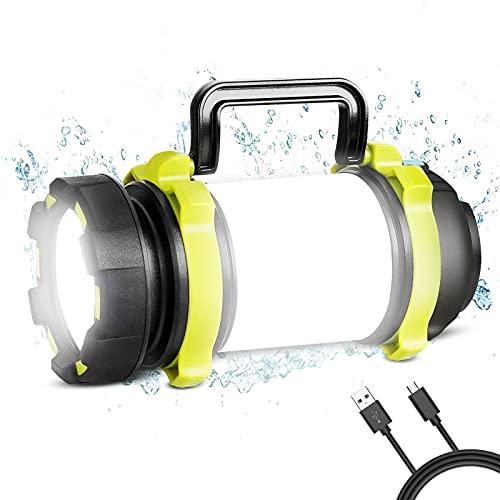 REEXBON Linterna de Cámping Recargable 1200 Lúmenes Antorcha LED 4 Modos de Luces de Trabajo 4000mAh Power Bank Farol de Cámping Resistente al Agua con Cable USB para Senderismo Pesca Emergencia y Más