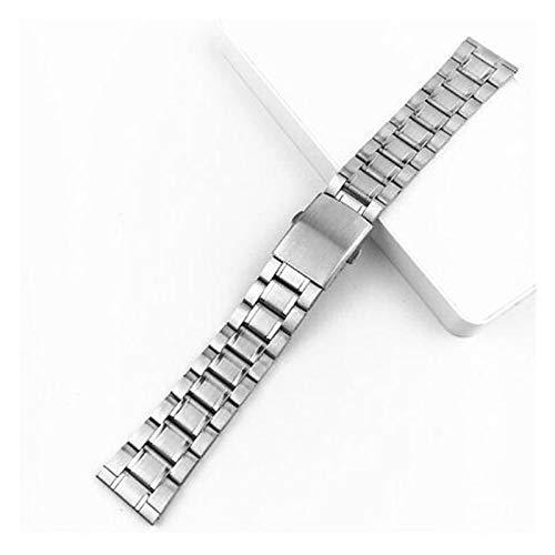 Acero inoxidable 12/14 / 16/18/20 / 22mm Correa de reloj Pulsera de pulsera de plata Color de plata Reloj de metal con cierre plegable para hombres mujeres ( Band Color : Silver , Band Width : 18mm )