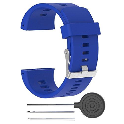Für Polar V800 Watch Armband Silikon Sport Wasserdichte Armband Ersatz Uhrenarmband Silikon Sportarmband Replacement Watch Band Wrist Strap (Blau)