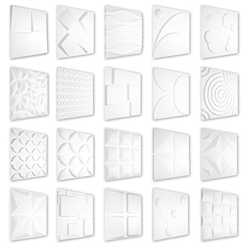 HEXIM 3D Paneles 50 x 50 cm – Gran selección de detalladas placas de plástico PVC para diseño de pared y techo – Perfect HD131 (5 metros cuadrados = 20 placas)