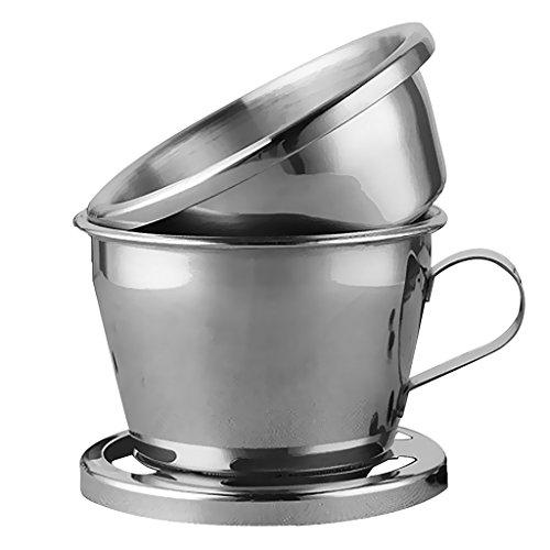 Tubayia Juego de 3 accesorios de café de acero inoxidable, filtro de café, taza de café, jarra de cerveza y cuchara medidora
