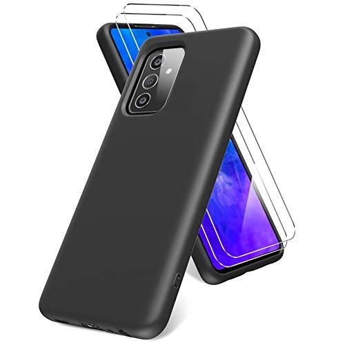 Vansdon Cover per Samsung Galaxy A72 5G/4G, 2 Pellicola Protettiva in Vetro Temperato, Gomma Gel di Silicone Liquida Antiurto Custodia - Nero