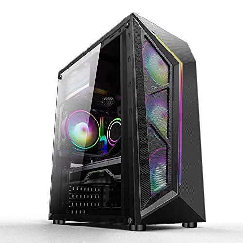 YINxy Caja de Torre Media, Caja de Juegos de computadora, Placa Base ATX, refrigeración por Agua 240, USB3.0, 4 Posiciones de Ventilador - Blanco Negro