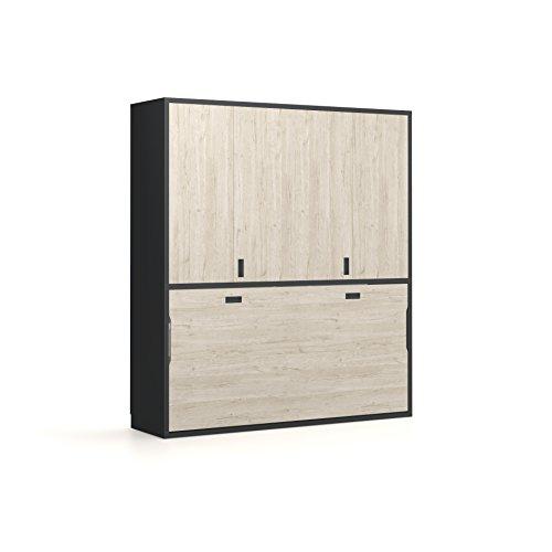 Meubles ROS Lit escamotable et Armoire - 237,8x211,9x59 cm - Chêne/Gris Ardoise
