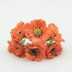 Artificial and Dried Flower 60pcs/lot Silk Cherry Blossoms Artificial Poppy Small Bouquet for Wedding Decoration Scrapbooking Garland Fake Flowers