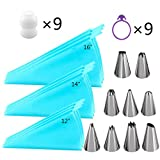 "Piping Bags, QMOEH 36pcs Pastry Bags Sets with 9pcs 3 Sizes (12""+14""+16"") Reusable Silicone Icing Pastry Bags, 9 Different Icing Bags Tips, 9 Piping Bags Couplers and 9 Frosting Bags Ties"