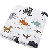 Carebabyworld Muslin Swaddle Blankets Baby Boy Dinosaur Swaddle Wrap Shower Gift Large Size 47x47 inches Lightweight and Breathable (Dinosaur)