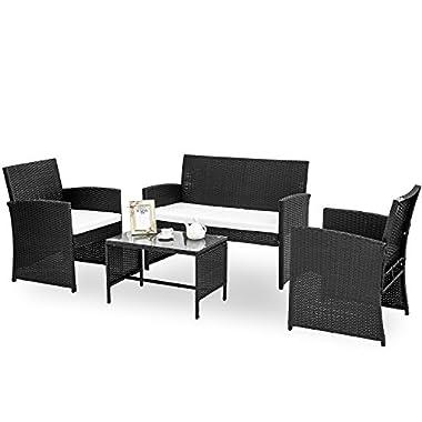 HANs 4 PC Rattan Patio Furniture Set Garden Lawn Sofa Cushioned Seat Wicker Sofa (Black)