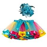 Ropa Infantil Moda 2-11 años Niño Infantil BEBÉ Chica Falda Arco Iris Tutu Fiesta Baile Ballet Mini Vestido Falda Princesa + Conjunto de Bandas para el Cabello 2 Piezas (Cielo Azul, S 2-4 años)