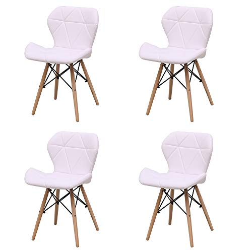 4er Set Essensstuhl Lounge Sessel Wohnzimmerstuhl Küchenstuhl Gartenstuhl Balkonstuhl - mit Rückenlehne - Kunstleder - Beistellstuhl - zum Schminktisch Empfangsraum Büro Konferenz