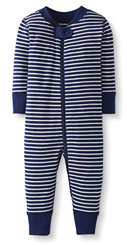 Moon and Back by Hanna Andersson Baby/Toddler One-Piece Organic Cotton Footless Pajamas, Navy Stripe, 0-3 months