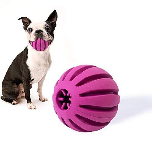 EETOYS IQ Dog Treat Ball – Interactive Treat Dispensing Dog Puzzle Toy Rubber Dog Ball Slow Feeding Food Dispensing Dog Toy Reduce Boredom Teething Toy for Mini Small Medium Dogs (Small, Purple)