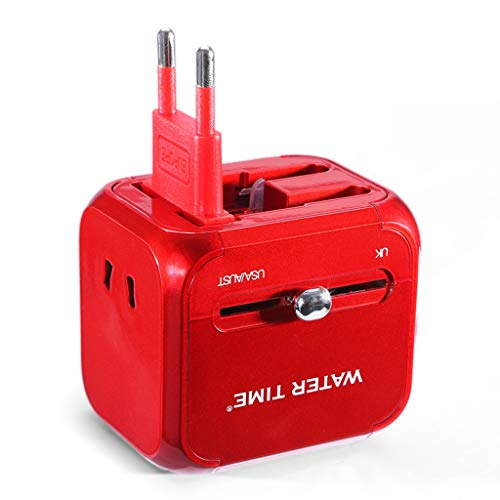 DUOER home Adaptador Universal Mundial, convertidor de Socket de conversión Multifuncional multinacional para el Reino Unido, UE, AU (Color : Red)
