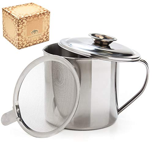 Aulett Home Bacon Grease Container With Strainer - Great For Storing Fats for Keto and Paleo, Cooking Oil and Drippings - 1.25 Quart Or 5 Cups Stainless Steel Grease Keeper