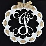 Letter J - Monogrammed Door Hanger | Mom Gift | White and Burlap Everyday Year Letter Door Hanger