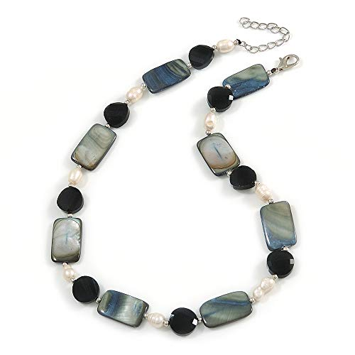 Avalaya Black Glass Bead, Grey Shell, Cream Freshwater Pearl Necklace with Silver Tone Closure - 44cm L/ 5cm Ext