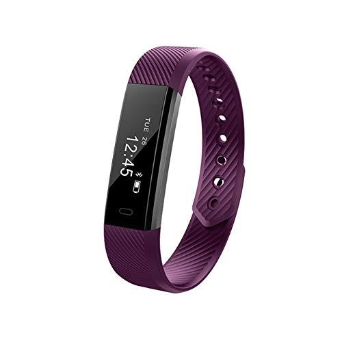 AIREQN Hombres Mujeres Pulsera Inteligente podómetro Contador de Paso de Banda Pulsera de Fitness Reloj Despertador Inteligente Reloj de Pulsera (Color : Purple)