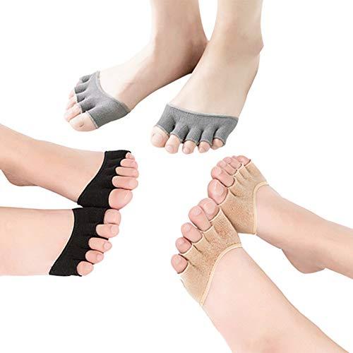 Shuxinmd Langlebig und erschwinglich Frauen öffnen fünf Zehensocken Vorfußsocken halbe Zehensocken rutschfeste Yoga Pilates Balletttanz Zehenschutz 3 Paare Geeignet für den Alltag und Outdoor-Sport