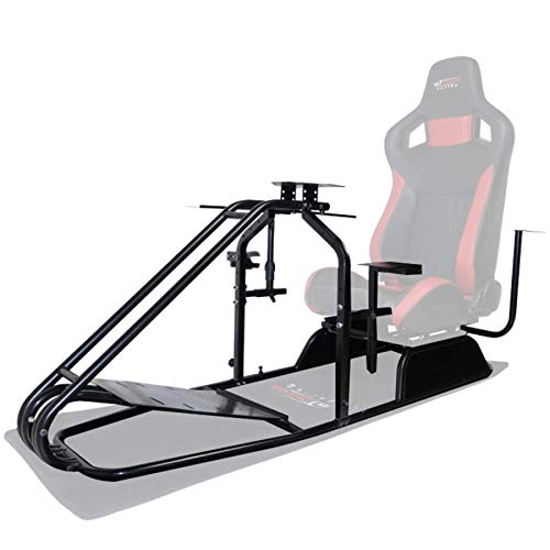 GT Omega PRO Simulator Cockpit Frame (No Seat) - Premium Quality Steel Framework, Fully Height Adjustable Wheel Plate - Adaptable Gear Shifter Mount - Ergonomic Design - Ideal For PS4, Xbox One & PC