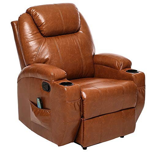 ULTIFIT Recliner Chair Massage&Heat Single Sofa for Living Room, Premium PU Leather Chair Reclining Manual Ergonomic Huge Overstuffed Home Theater Seating (Brown)