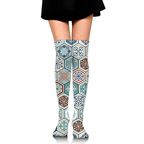 Hdadwy Azulejos hexagonales portugueses Imprimir Calcetines hasta la rodilla ocasionales Medias atléticas de moda