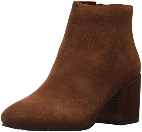Gentle Souls by Kenneth Cole Women's Blaise Ankle Bootie with Side Zip, Covered Block Heel Suede Ankle Bootie, walnut, 11 M US